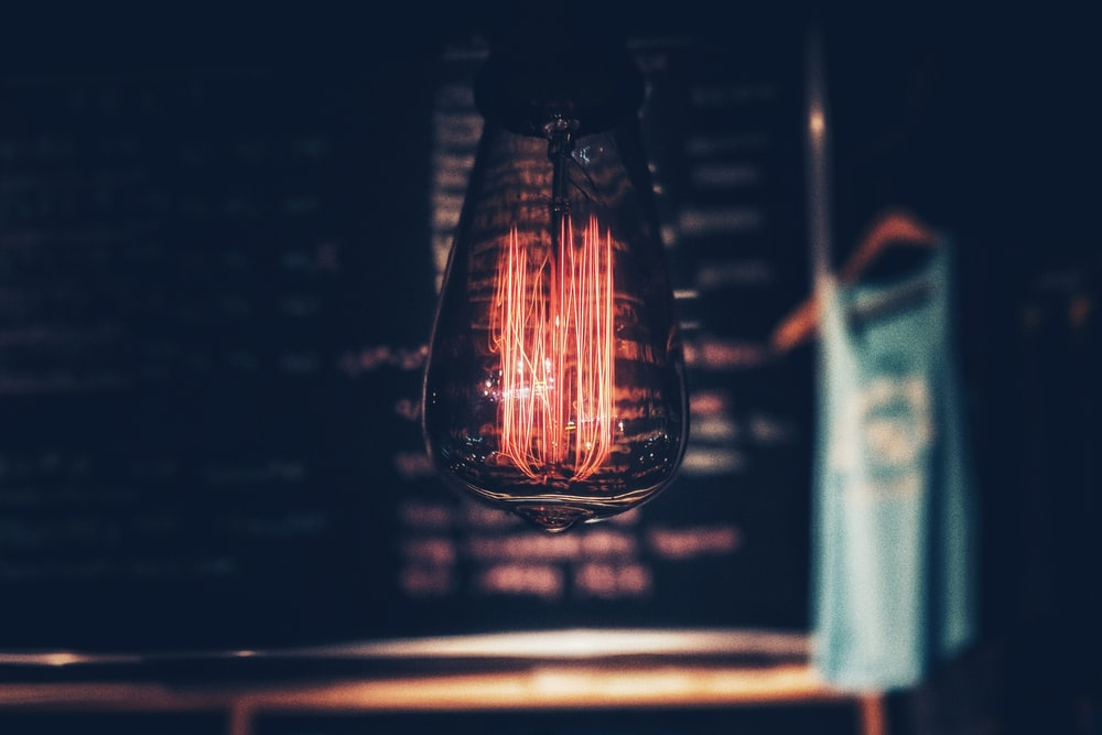 black and blue light bulb