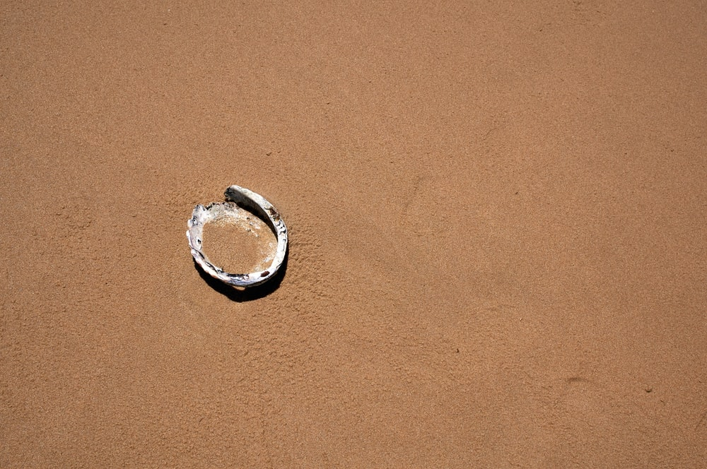 silver ring on brown sand