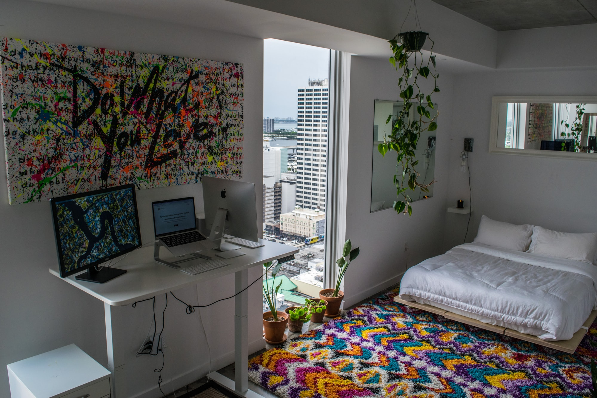 Urban Jungle Bedroom Home Office in Downtown Miami