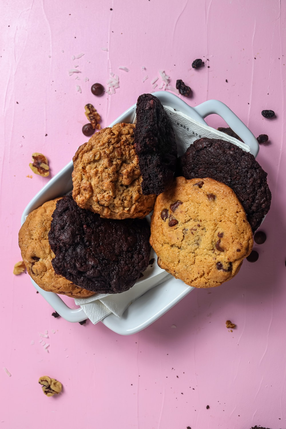 chocolate chip cookies on white ceramic plate
