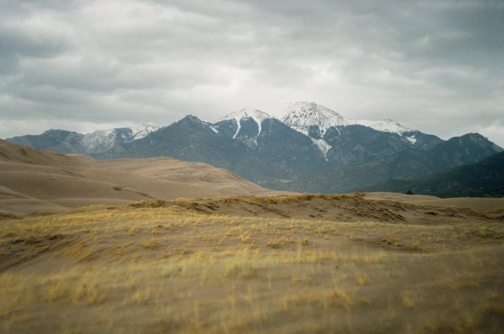 brown grass field near snow covered mountain during daytime