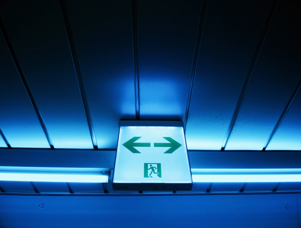 white and green lighted ceiling