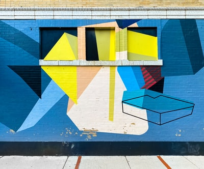 blue yellow and white concrete building cubism zoom background