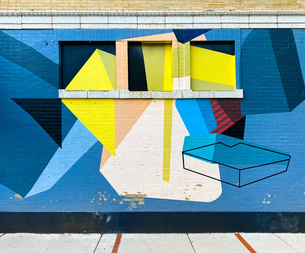 blue yellow and white concrete building