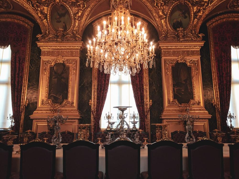 gold and black uplight chandelier