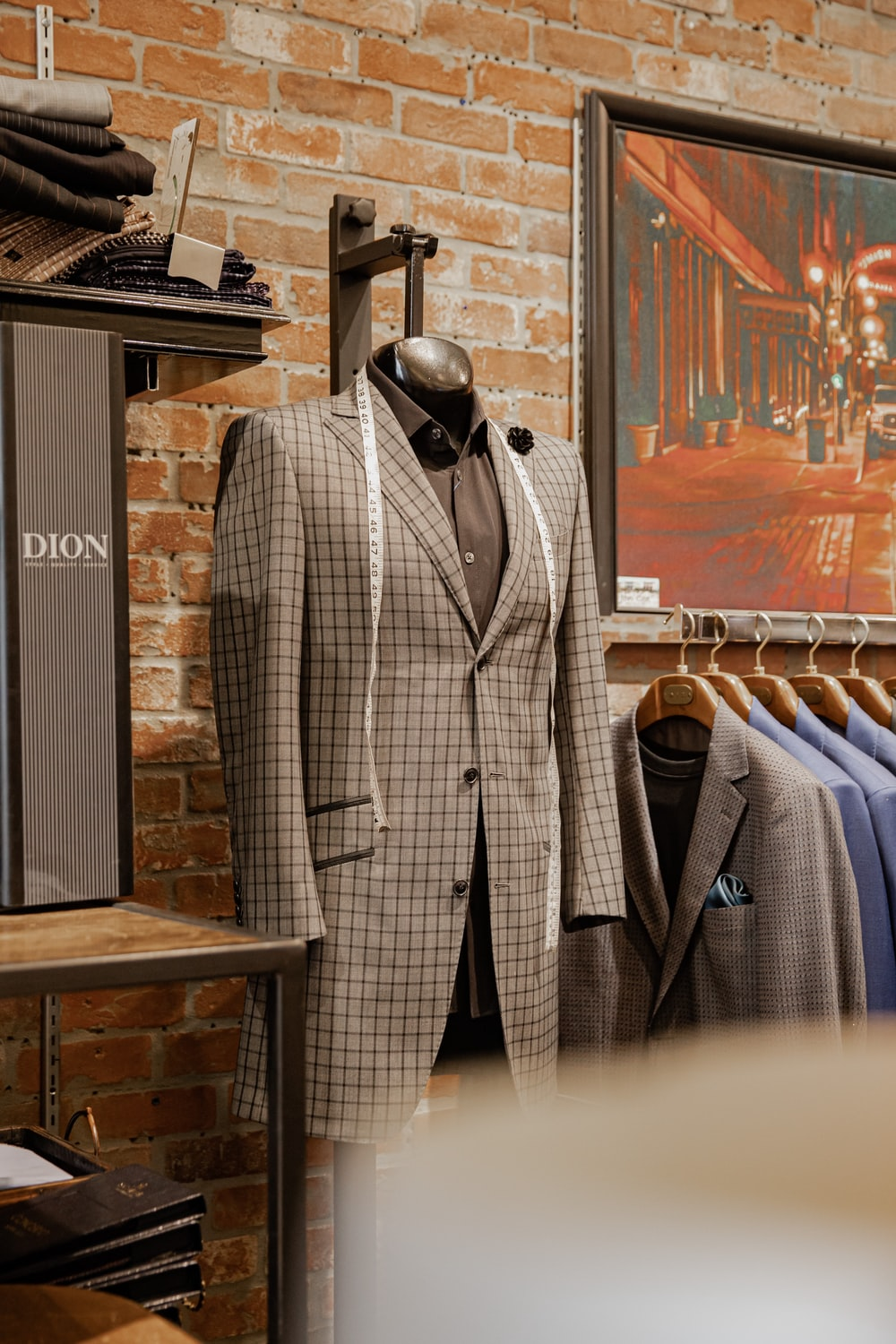 gray and white plaid suit jacket