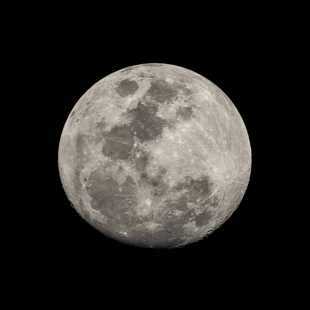 full moon in black background