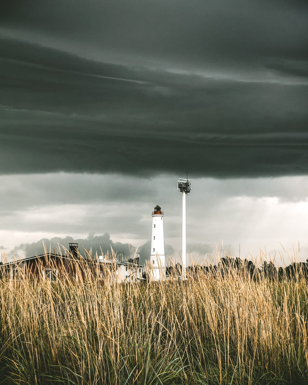 white and black lighthouse under gray clouds