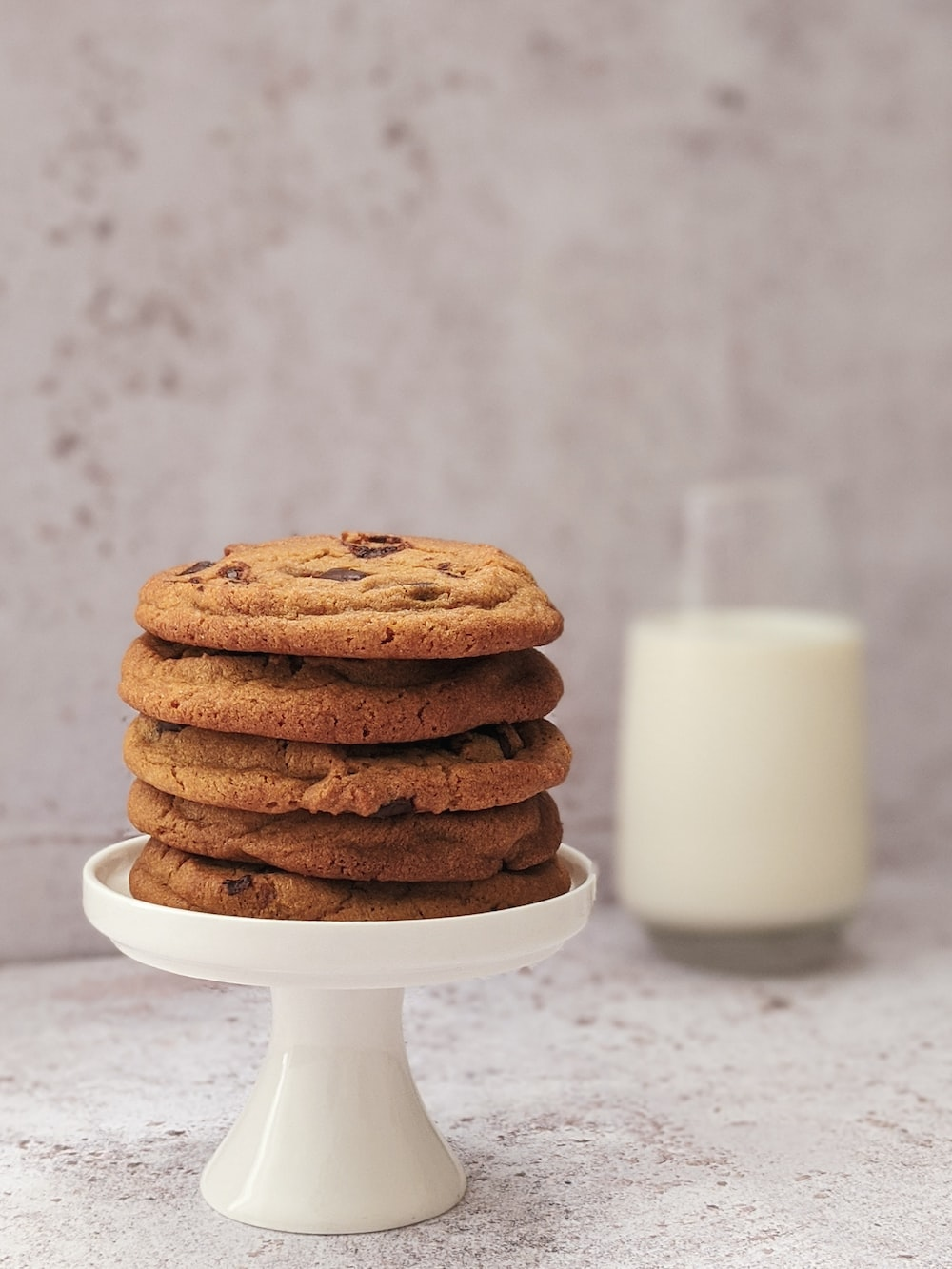 cookies on white ceramic footed tray