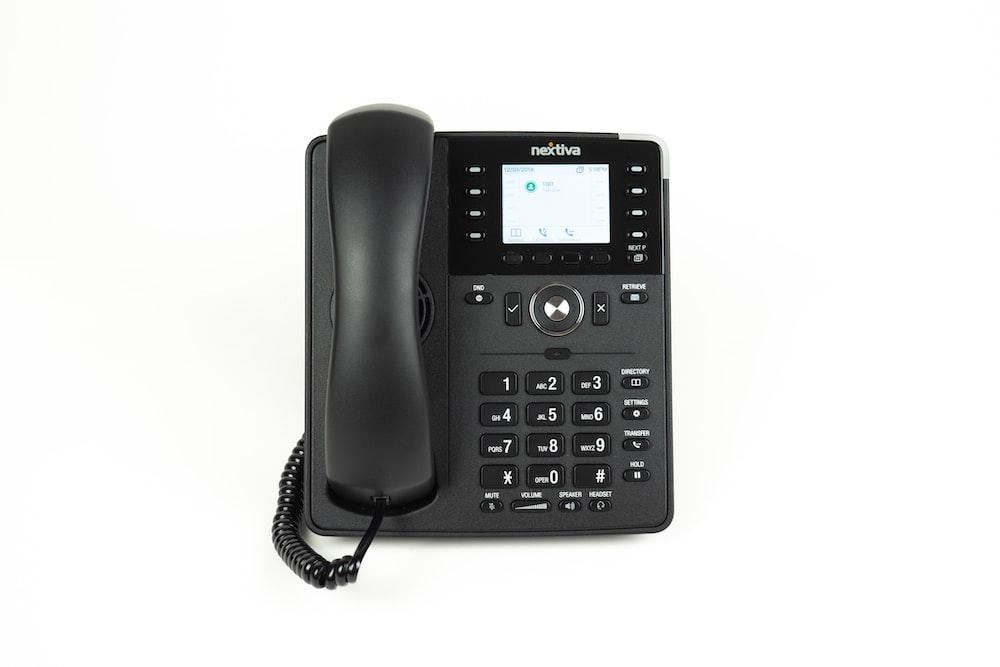 black and gray ip desk phone