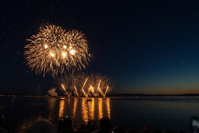 fireworks display over body of water during night time vermont zoom background