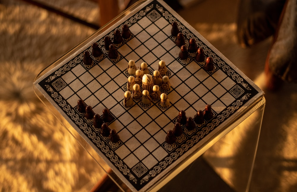 black and white chess board game