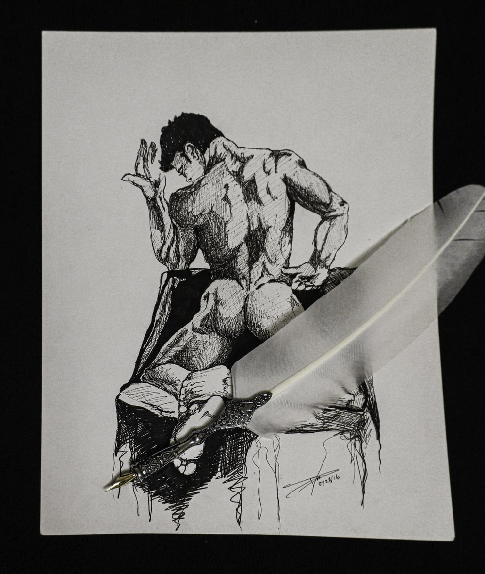 man and woman kissing sketch