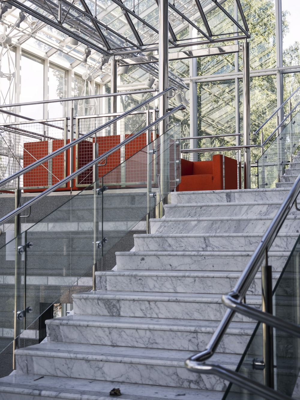 red and gray concrete staircase
