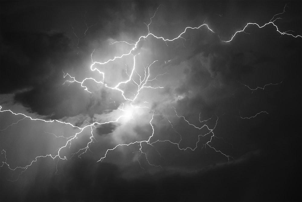 white and black lightning illustration