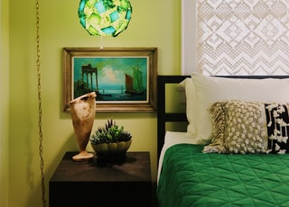 green and white floral hanging decor