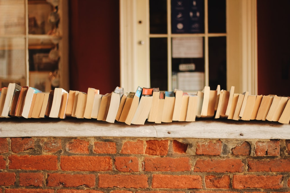 books on brown brick wall