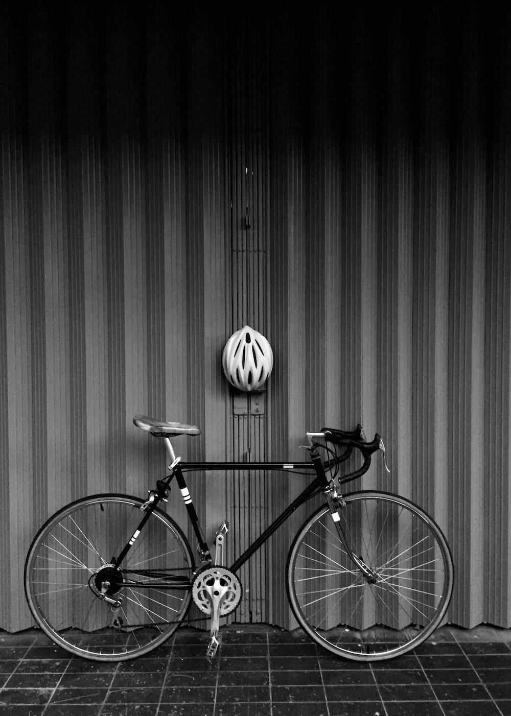 grayscale photo of road bike