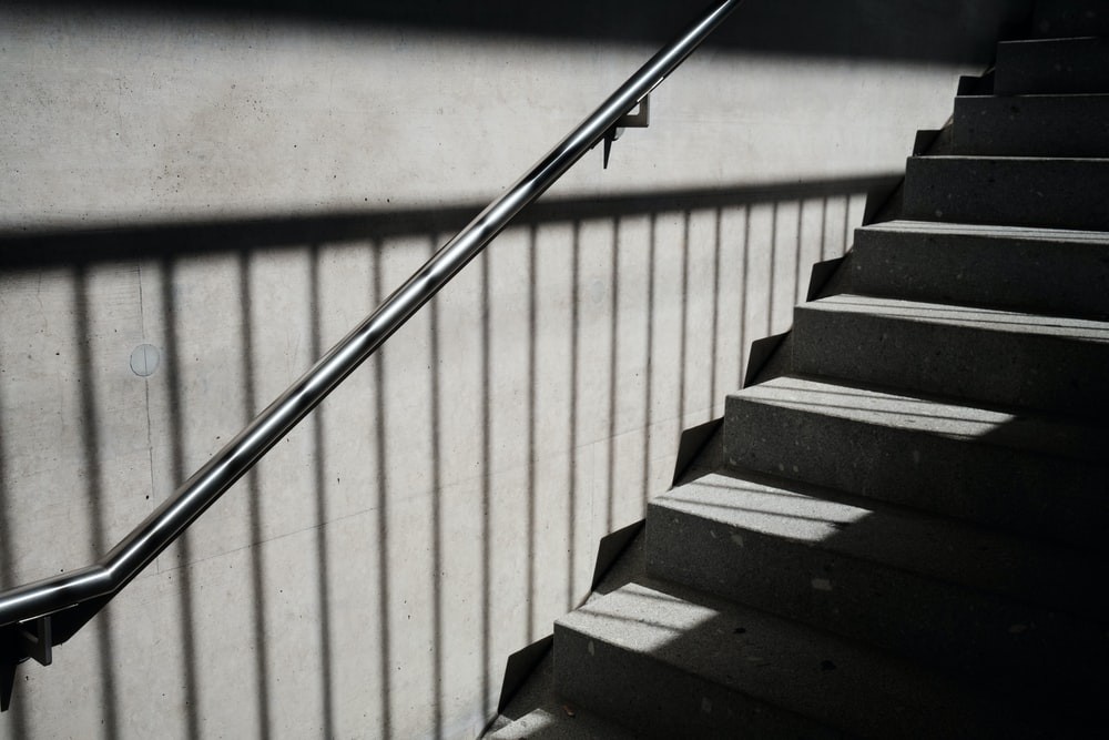 black and white wooden staircase