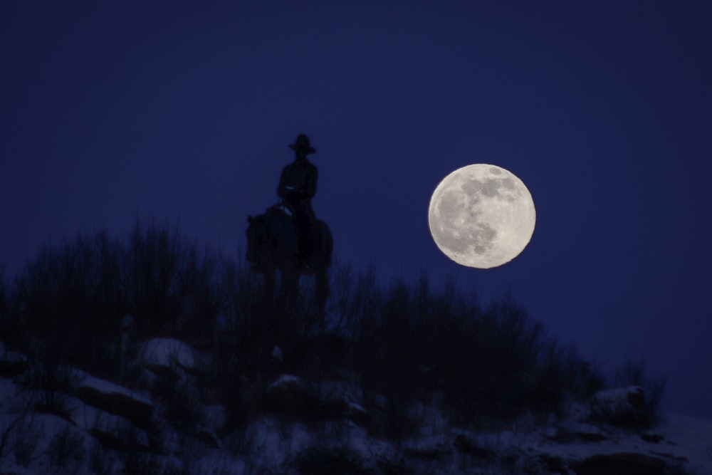 silhouette of man standing under full moon
