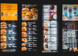 black and white menu list