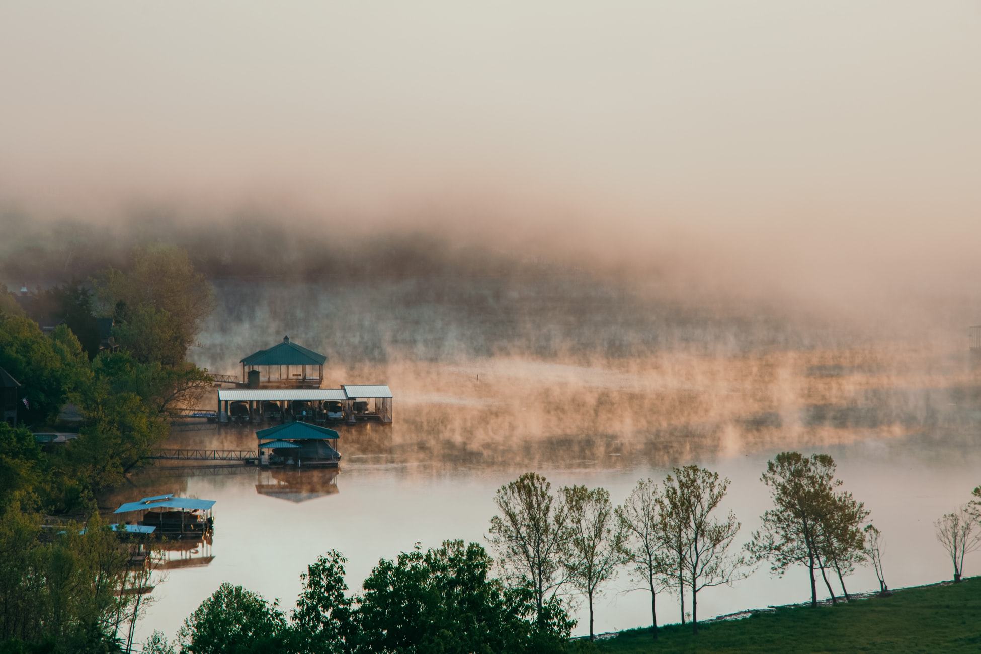 mist rising from the lake of the ozarks