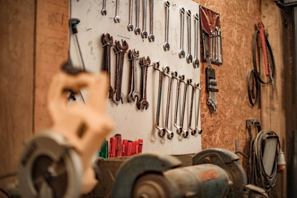 brown and gray metal tools