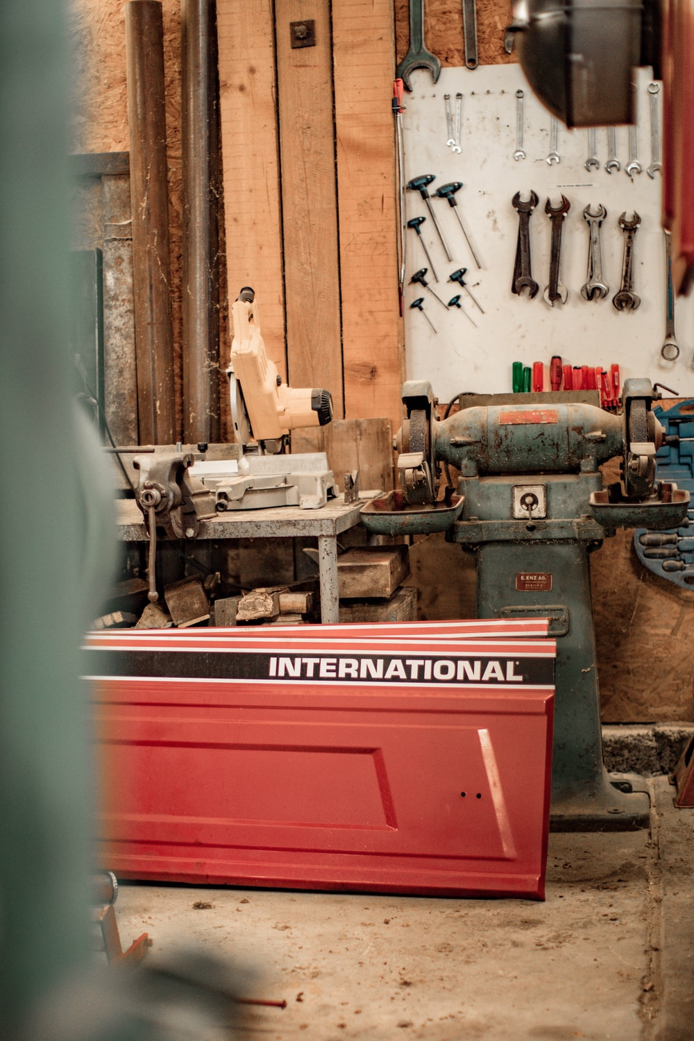 red and gray industrial machine