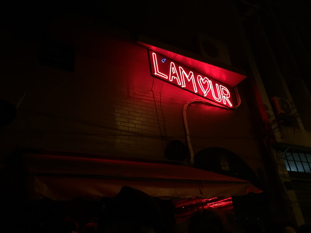 red and white UNKs coffee led signage