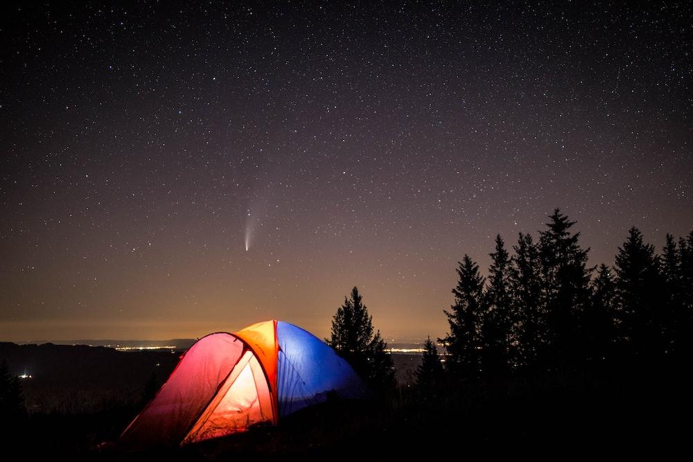 blue tent under starry night