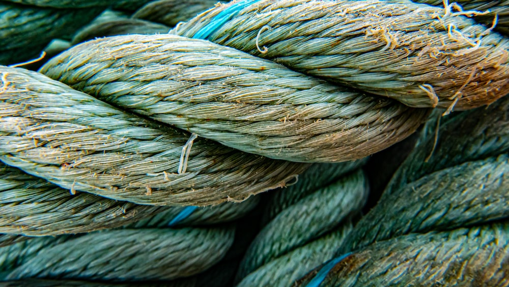 blue and brown rope on brown wooden surface