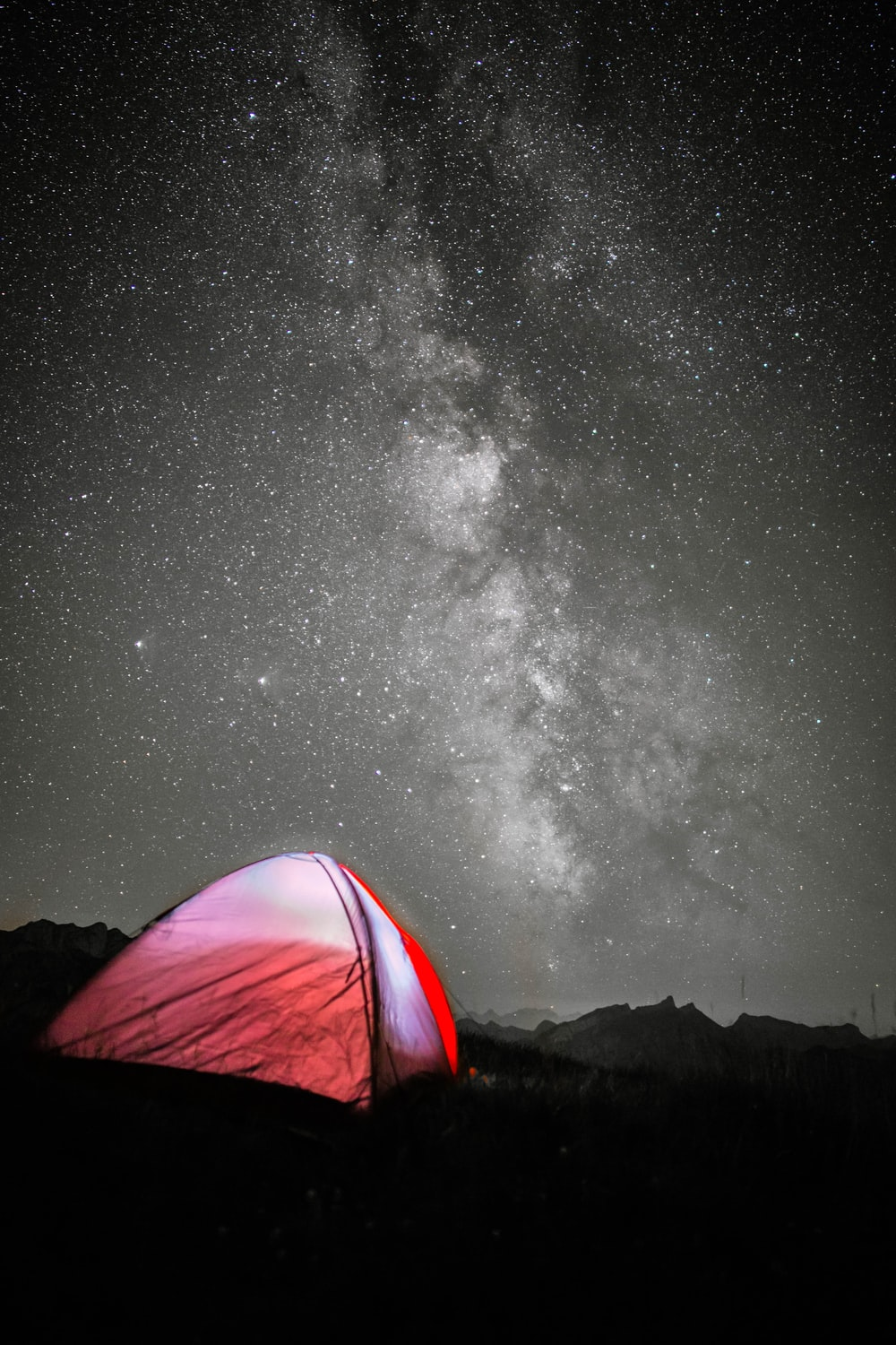 red tent under starry night
