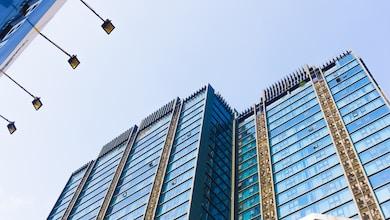 Glass building on blue sky