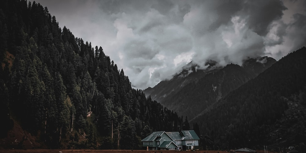 green house surrounded by trees near mountain under cloudy sky during daytime