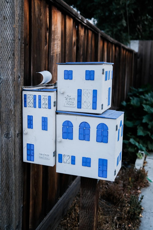 blue and white cardboard box