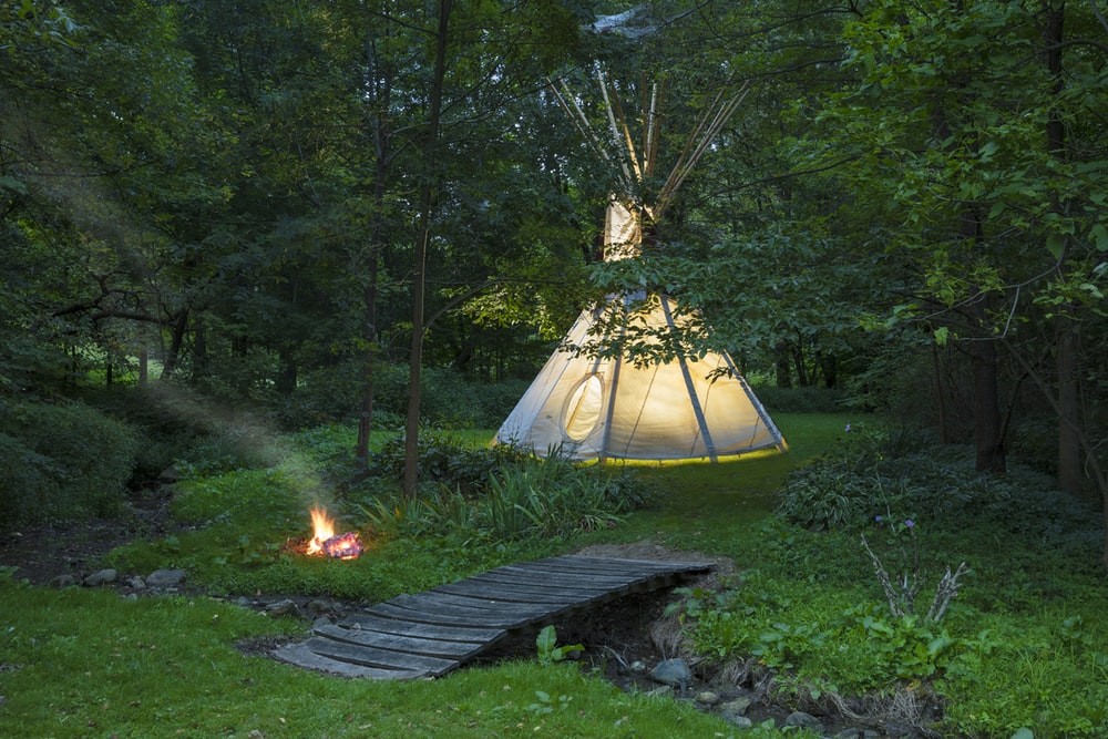 white tent in forest during night time