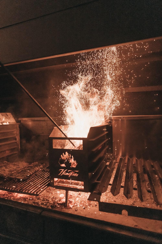 fire in black metal grill