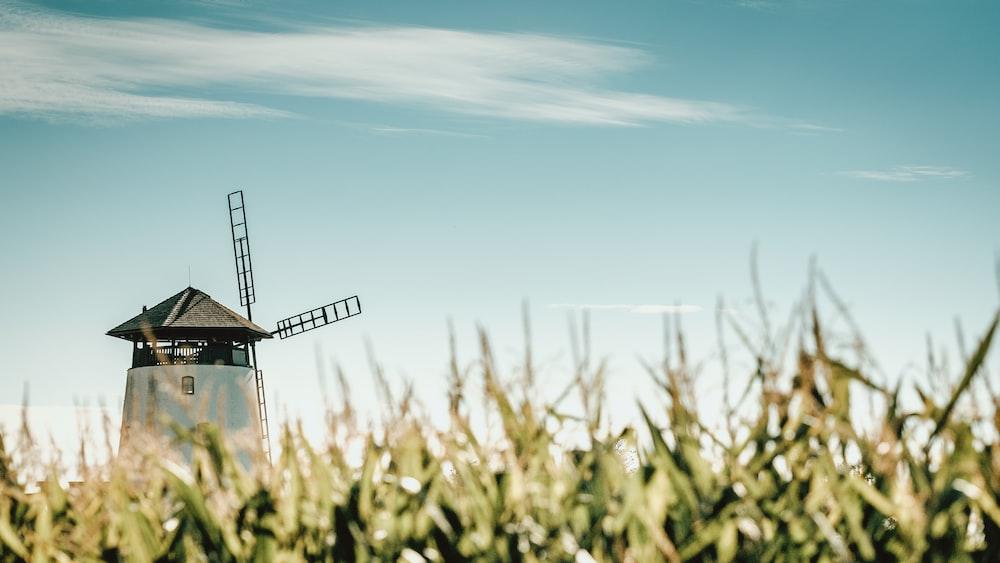 black windmill under blue sky during daytime