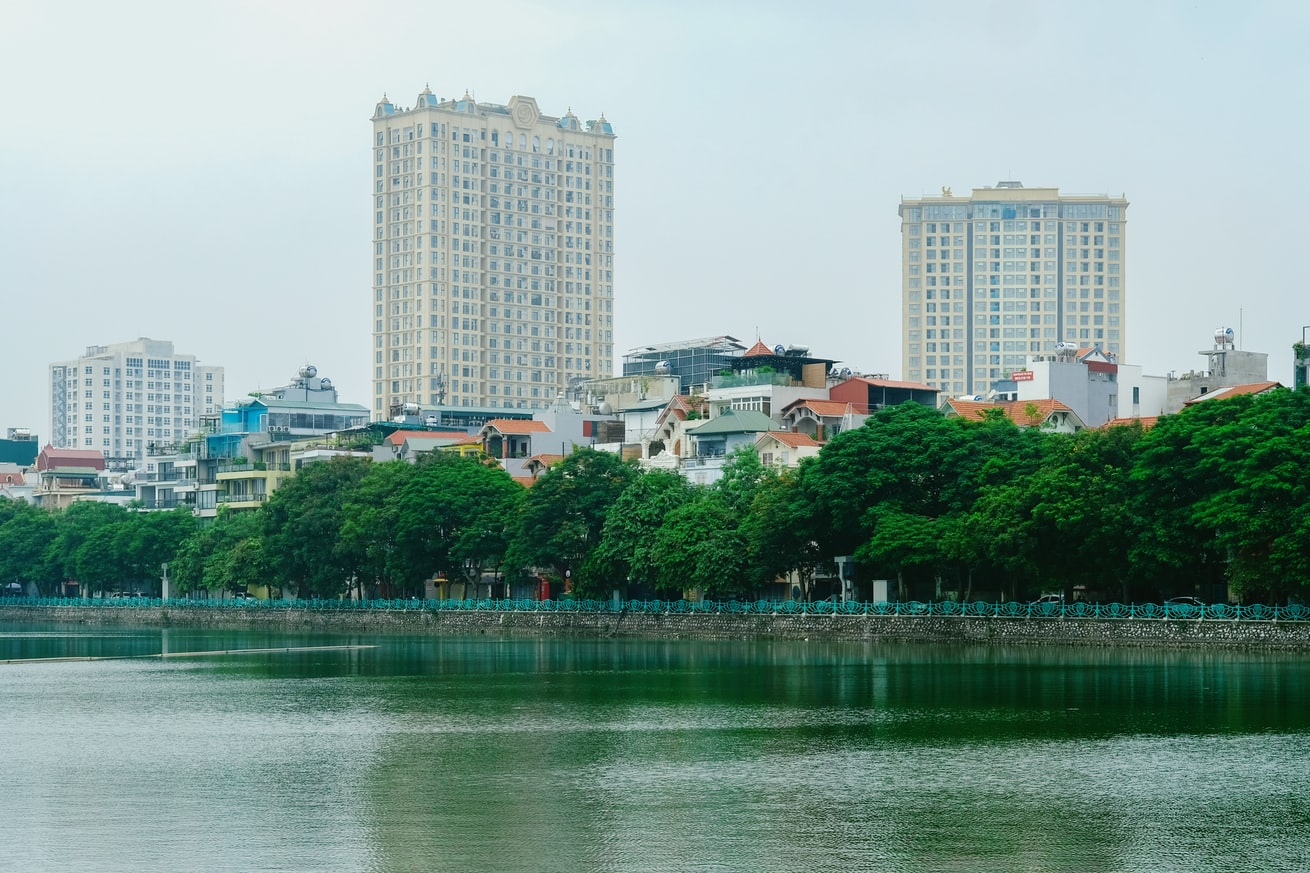The lakes and rivers are quite beautiful in Hanoi, Vietnam