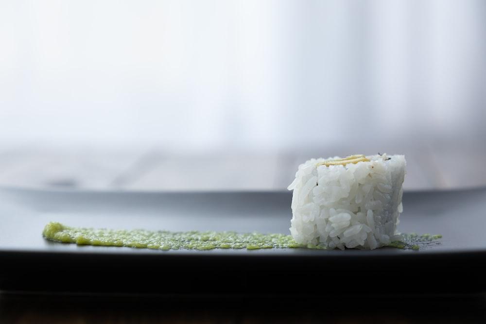 white rice on green tray