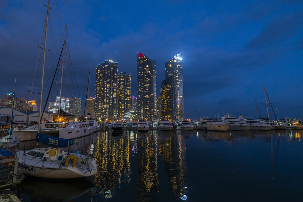 white boat on body of water near city buildings during night time