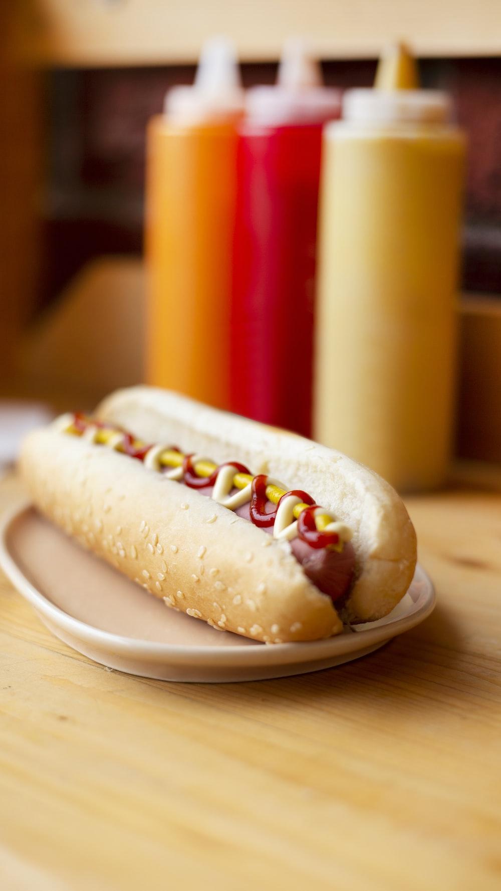 hotdog sandwich on white plate