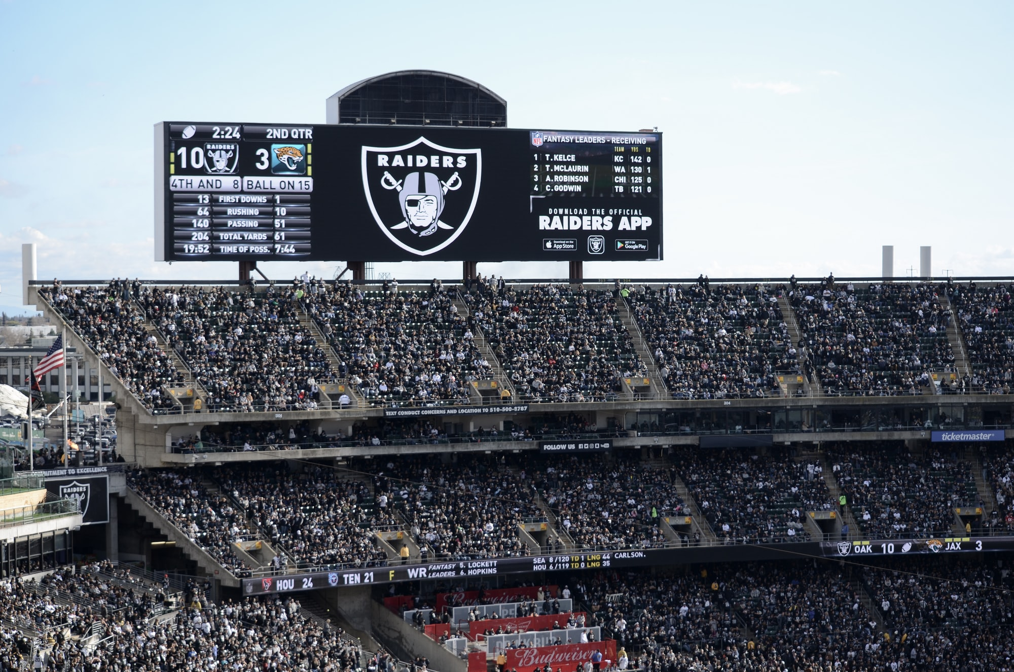 This was taken on the last game that the Raiders had at the O.co Coliseum at Oakland, CA.