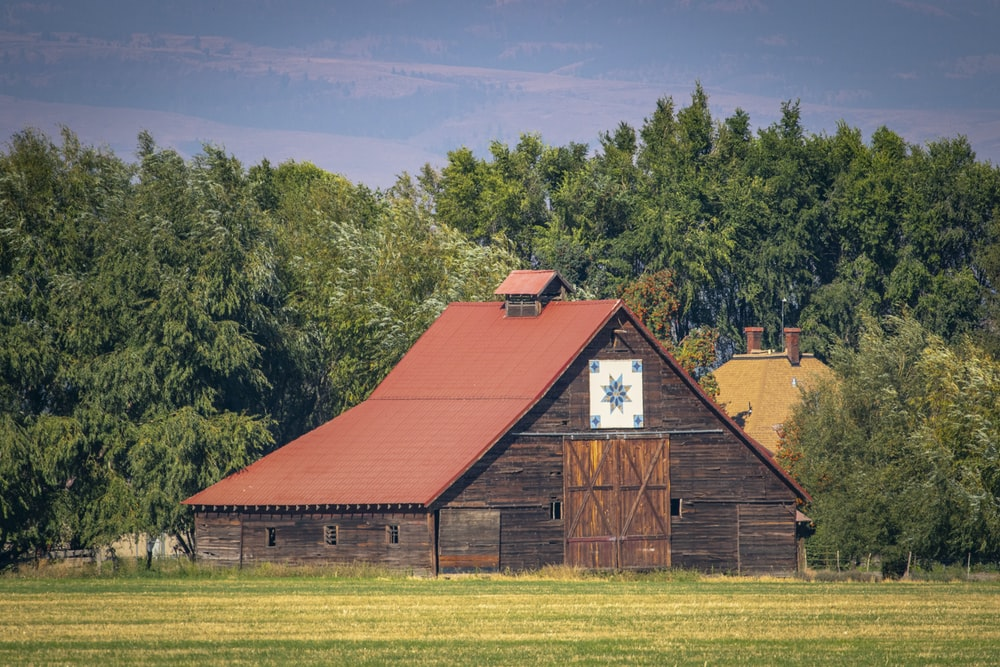 red barn house near green trees under blue sky during daytime
