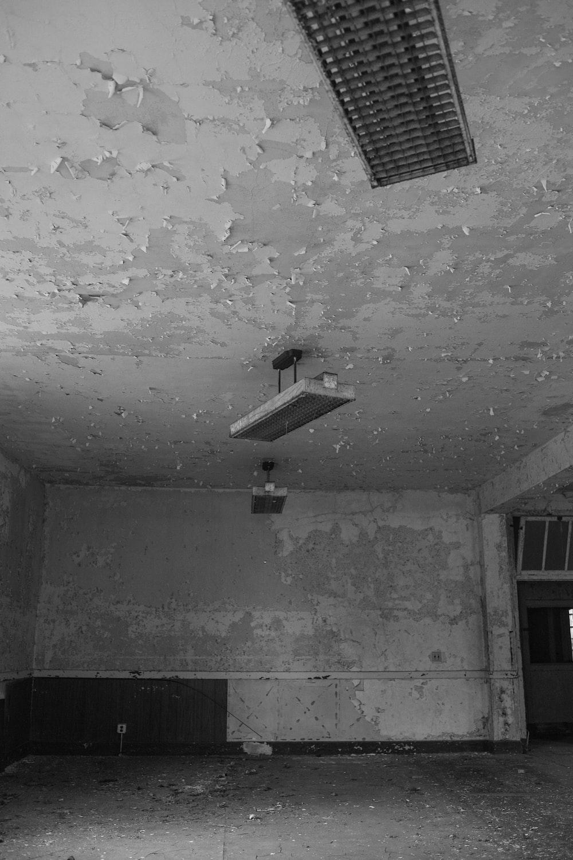 white ceiling light turned off