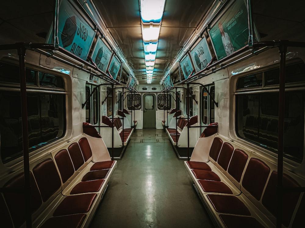 brown and white train interior