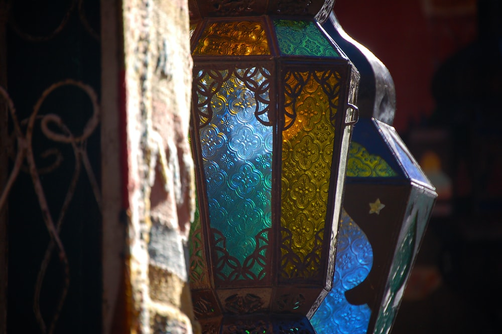 blue and gold glass table lamp