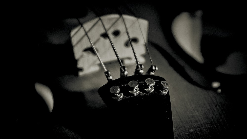 grayscale photo of guitar pick