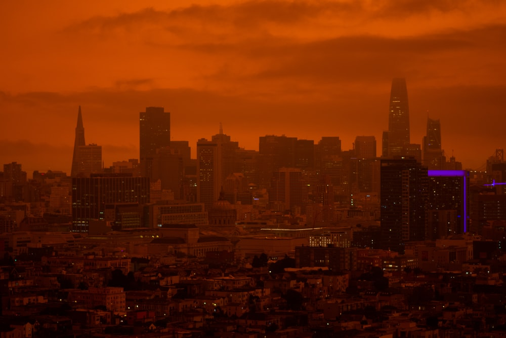 San Francisco city skyline during 2020 labor day fires