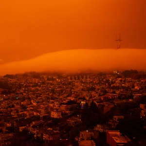 aerial view of San Francisco city during 2020 labor day fires